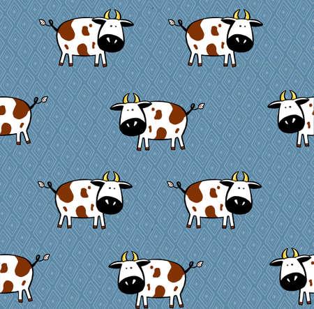 Cute cows seamless pattern. childish background. animal illustration