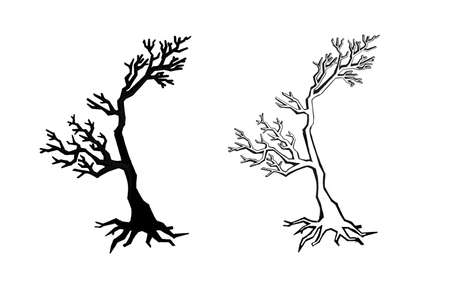 Set of silhouettes of trees, forest , park