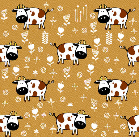 Cute cows seamless pattern. childish background fabric, textile