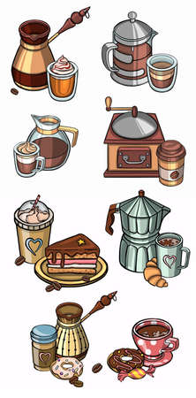 Illustration in hand drawing style, coffee Set. Collection of Doodle elements on white background. Tea spoon, cezve, coffee grinder, beans and spices, cup takeaway, cupcake. Vector illustration