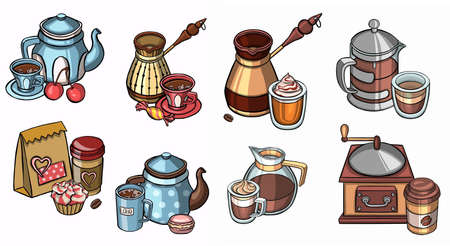 Doodle coffee shop items with seamless pattern. Vector illustration