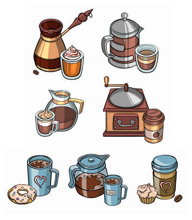 Vector concept illustration of tea and coffee labels. Colorful template for cooking and restaurant menu. Vector illustration