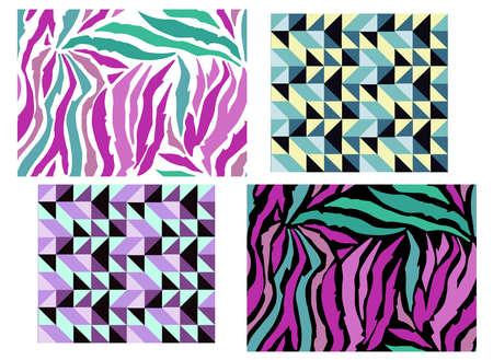 Illustration of Set of animal pattern. Imitation print of skin of zebra. Black purple stripes on white background. Vector illustration