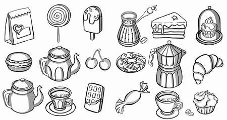 Tea, coffee, pastry icons. line. High quality illustration