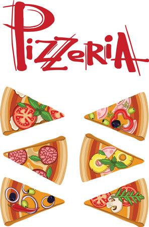 Set slice pizza Pepperoni, Hawaiian, Margherita, Mexican, Seafood, Capricciosa. vector engraving illustration for menu, box. Ilustracja