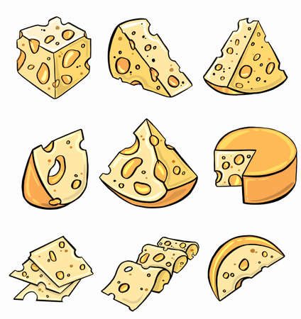 Cheese varieties. Flat design icon set. illustration