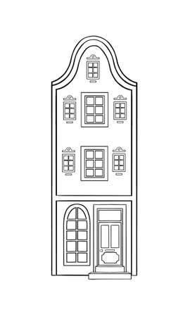 Amsterdam house icon in outline style. Architecture object isolated on white background. amsterdam architecture element. Vector illustration