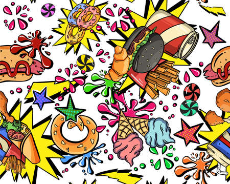 Seamless cute funny colorful teenage hipster lifestyle pattern. Can be used for fabrics, wallpapers, design and decoration. High quality illustration