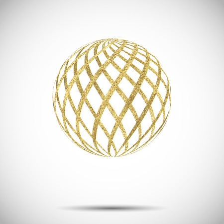 golden globe: vector golden textured sphere ball with ornament and stripes