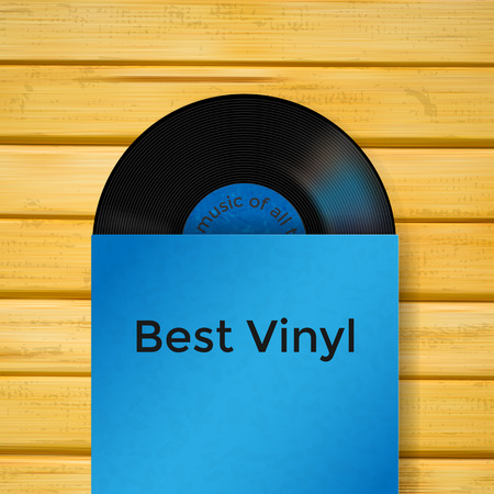 record cover: Vector vinyl record in cover on wooden Illustration