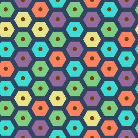 violet red: vector color seamless hexagonal pattern violet, green, yellow, dark blue, red and cyan colors