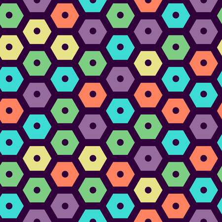 hexagonal pattern: vector color seamless hexagonal pattern violet, green, yellow, dark violet, red and cyan colors Illustration