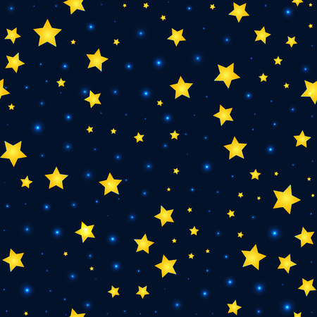 starry night: Vector cartoon stars and sky pattern with sparkle