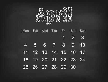 weeks: Vector 2016 calendar on black chalk board  Europe calendar grid weeks starts on Monday