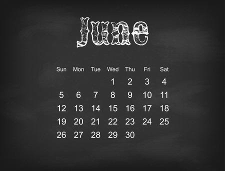 weeks: Vector 2016 calendar on black chalk board  American, Canadian calendar grid - weeks starts on Sunday Illustration