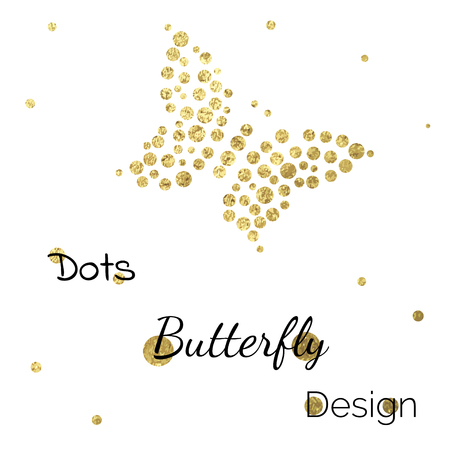 golden frame: Golden shine dots butterfly design template on white