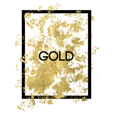 Gold splash on frame on white background