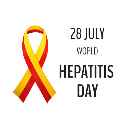 Vector illustration with 2 color ribbon on light background. 28 July World Hepatitis Day Illustration
