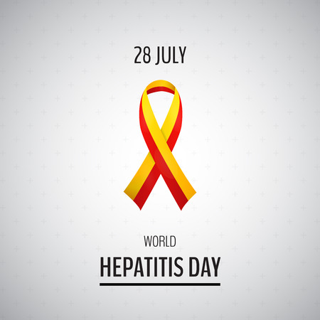 hepatitis prevention: Vector illustration with 2 color ribbon on light background. 28 July World Hepatitis Day Illustration