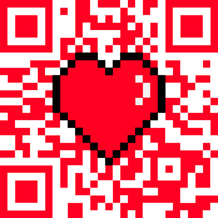 encoded: Vector QR code with encoded LOVE caption and 8 bit pixel heart Valentines Day card