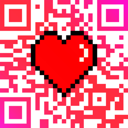 8bit: Vector QR code with encoded LOVE caption and 8 bit pixel heart Valentines Day card