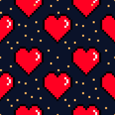 bit: Vector 8 bit pixel hearts Valentines Day retro pattern