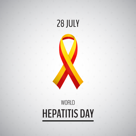 contagious: Vector illustration with 2 color ribbon on light background. 28 July World Hepatitis Day Illustration