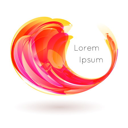 Vector illustration of colorful stylized drop curl swirl on white background Иллюстрация
