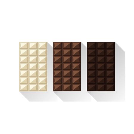 Vector illustration of chocolate bars: white, milk, dark Фото со стока - 60337628
