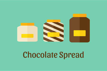 Vector illustration of different Chocolate Spread jars: white, brown dark and mixed Фото со стока - 60337624