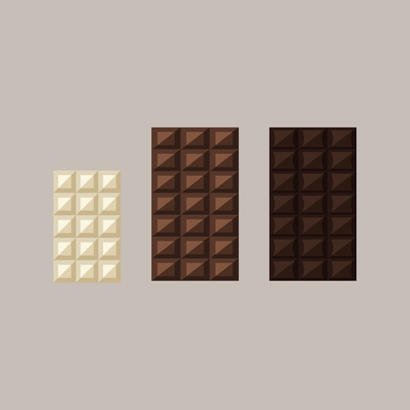 Vector illustration of chocolate bars: white, milk, dark Фото со стока - 60337668