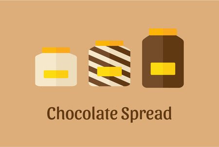 spread: Vector illustration of different Chocolate Spread jars: white, brown dark and mixed Illustration