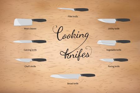 vector illustratie van het koken messen set Stock Illustratie