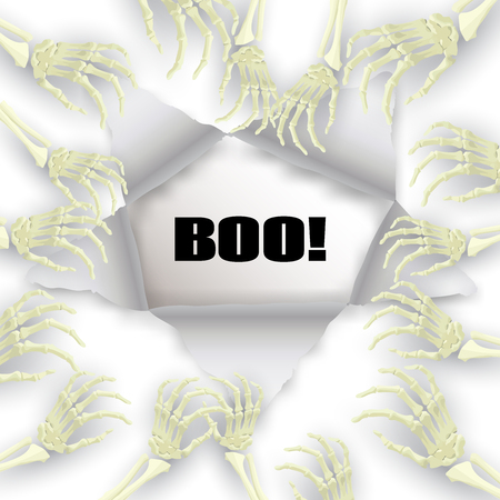 promotional: Vector Halloween background with skeleton arm for promotional, party, sale offers, invitations design, banners.