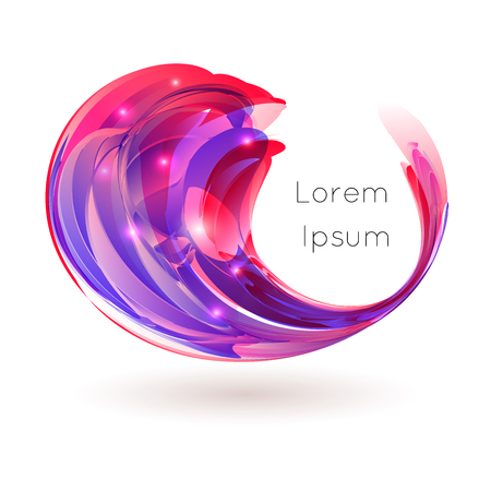 Vector illustration of colorful stylized drop curl swirl on white background Фото со стока