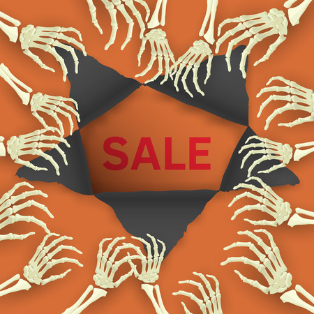 Vector Halloween background with skeleton arm for promotional, party, sale offers, invitations design, banners. Фото со стока - 60337909