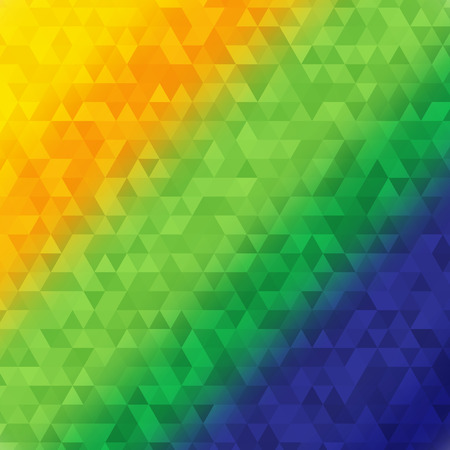 Vector illustration of Brazilian flag color triangle abstract background