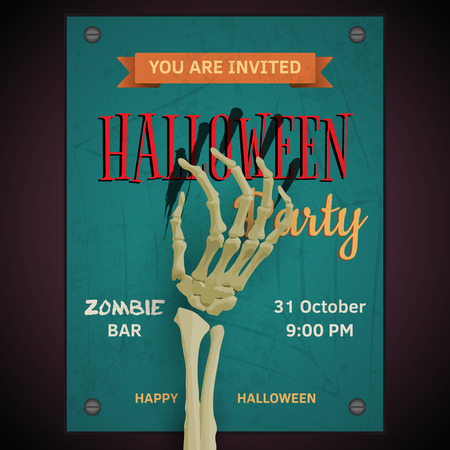 Vector Halloween party poster  with dead mans zombie arm on invitation to party Stock Photo