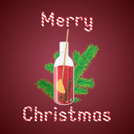 illustration of mulled wine in a bottle with Christmas greeting sweets text. Иллюстрация