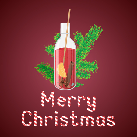 illustration of mulled wine in a bottle with Christmas greeting sweets text. Фото со стока - 62772234