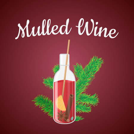 illustration of mulled wine in a bottle with Christmas tree branch Фото со стока - 62772331
