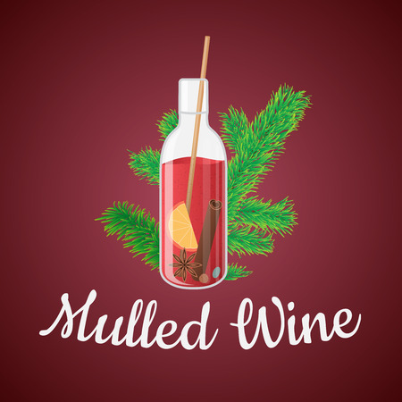 illustration of mulled wine in a bottle with Christmas tree branch