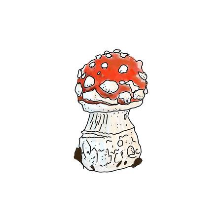 illustration of amanita muscaria poisonus mushroom Иллюстрация