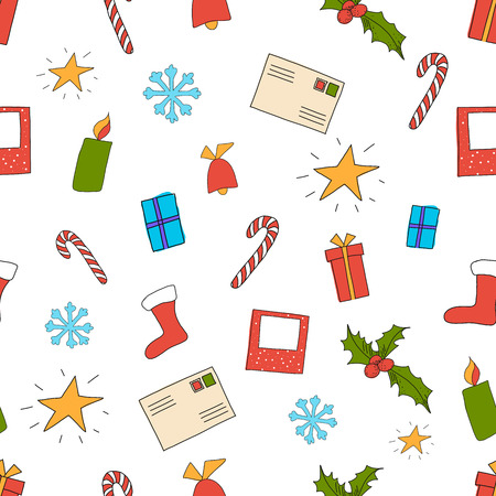 illustration of seamless Christmas pattern on white with set of elements