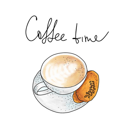 cup of cappuccino with cookie on white background in hand drawn sketch style Иллюстрация