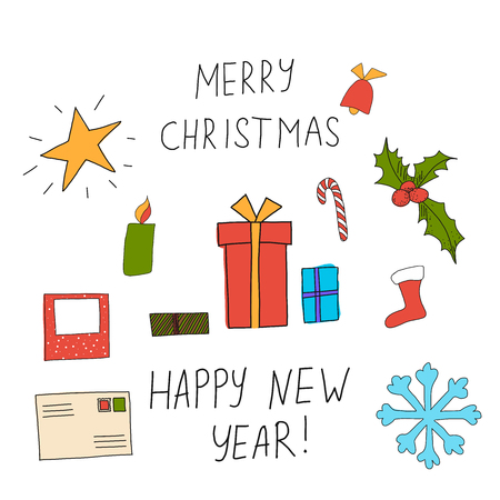 illustration of Christmas greeting card with caption Merry Christmas and Happy New Year and set of elements