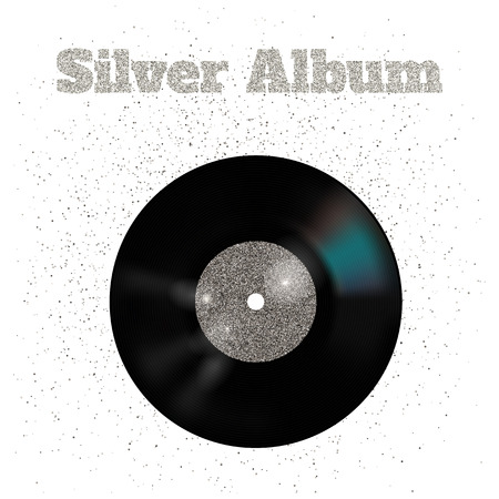 illustration of metal vinyl disk:silver Illustration