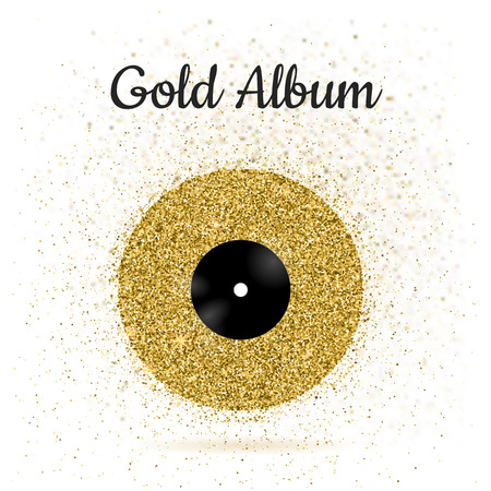 disk jockey: illustration of gold metal vinyl disk