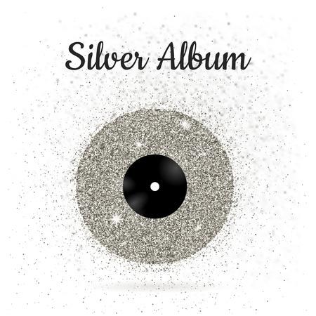 illustration of metal vinyl disk:silver Иллюстрация