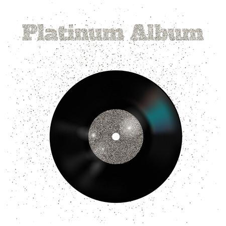 Vector illustration of metal vinyl disk: platinum Фото со стока - 62774024